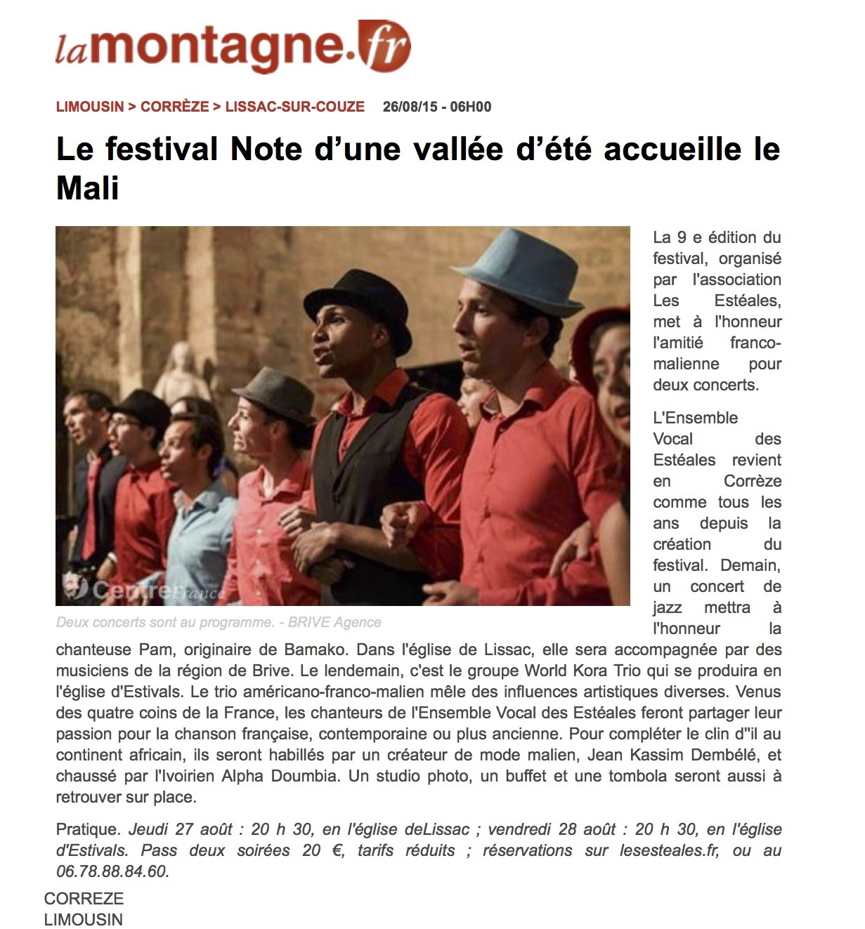 www.lamontagne.fr - Infos locales - LISSAC-SUR-COUZE (19600) - Le festival Note d'une vallée d'été accueille le Mali